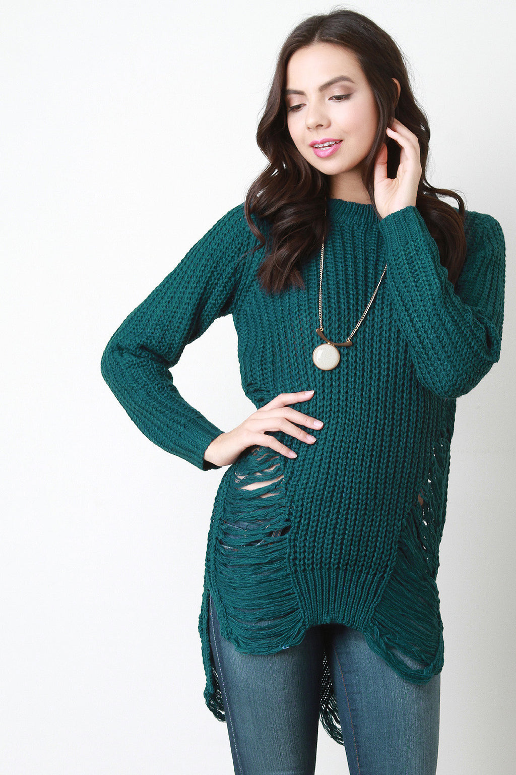 Chunky Knit Side Slit Shredded Sweater Top