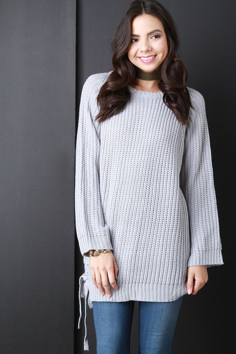 Chunky Knit Side Tie Sweater Top