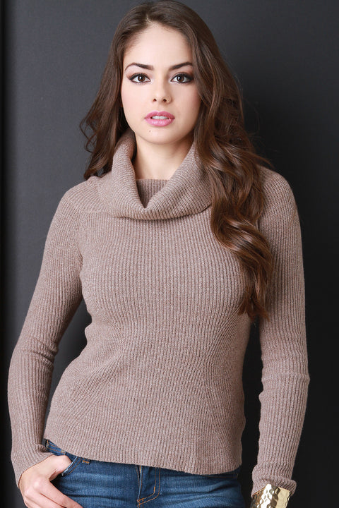 Thick Rib Knit Turtleneck Top