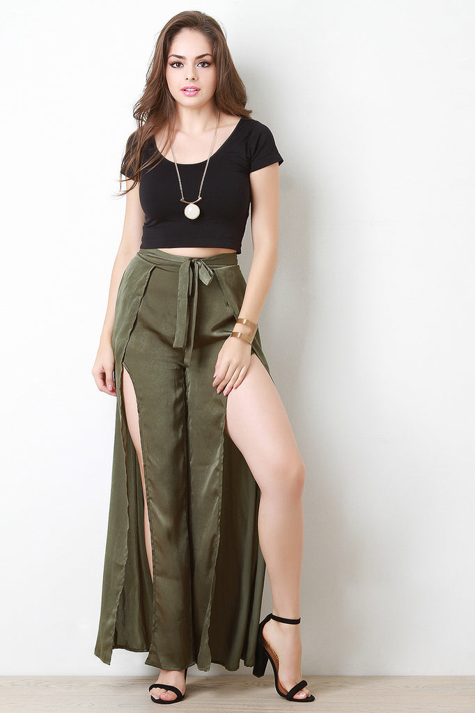 Satin Slit Wide Leg Pants