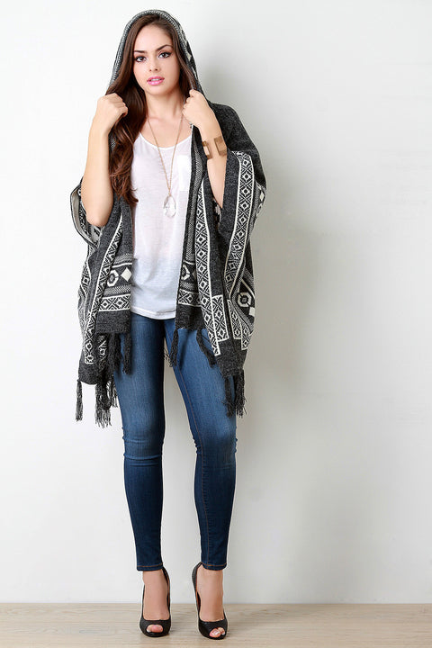 Brushed Loose Knit Tribal Fringe Hooded Poncho