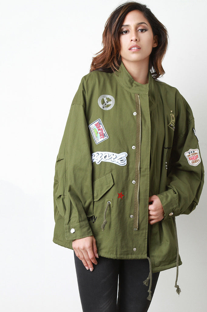 Embroidered Spike Patches Boxy-Fit Jacket