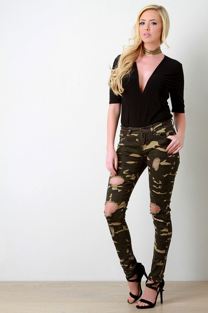 Camo Distressed Knee Hole Skinny Jeans