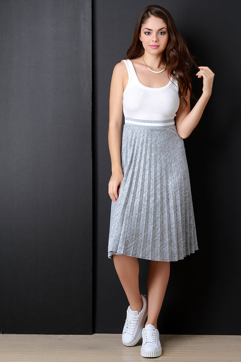 Accordion Pleated Marled Knit Glitter Stripe Trim Skirt