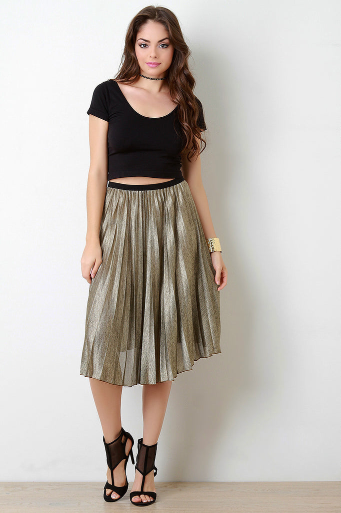 Subtle Shimmer Accordion Pleating Skirt