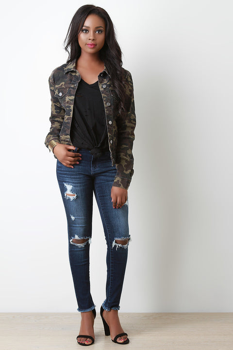 Camouflage Button Up Jacket