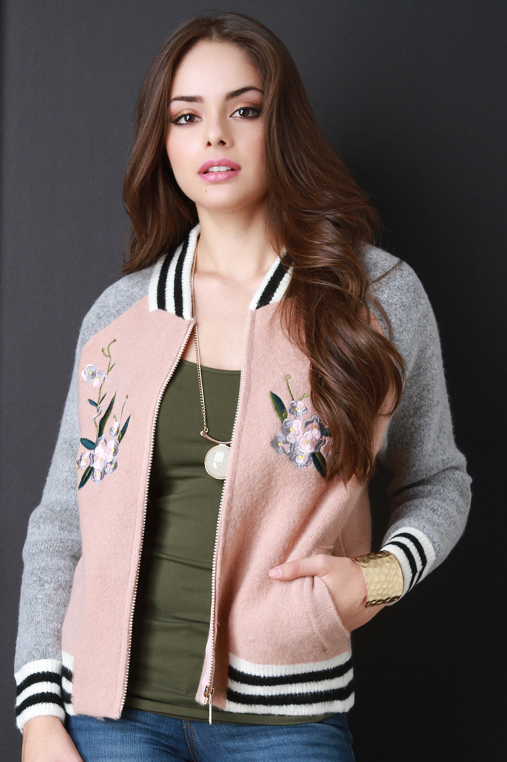 Embroidered Sweater Knit Bomber Jacket
