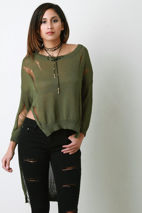 Distressed Loose Knit Long Sleeve High-Low Top
