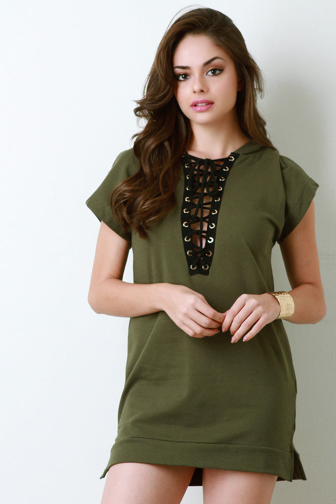 Lace-Up V-Neck Hooded Tee Dress