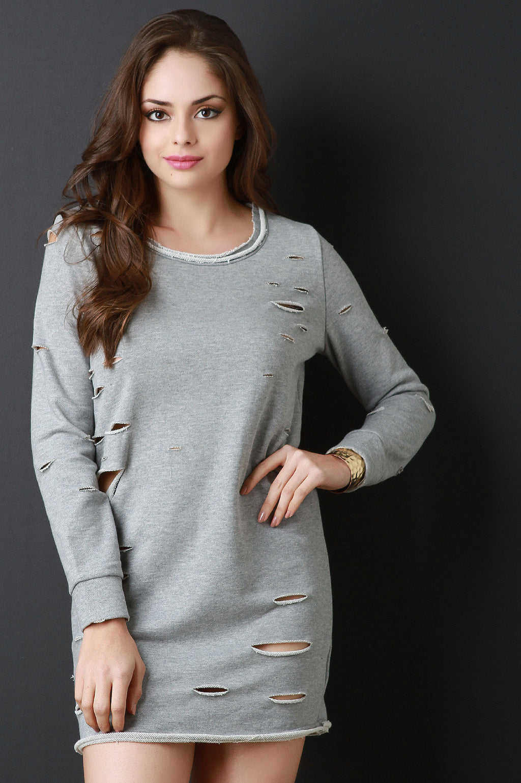 Distress French Terry Sweater Dress