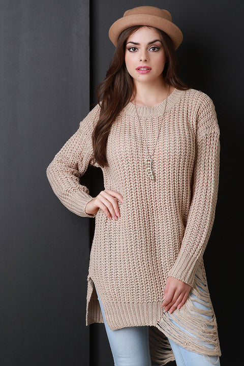 Asymmetrical Shredded Rib Knit Sweater