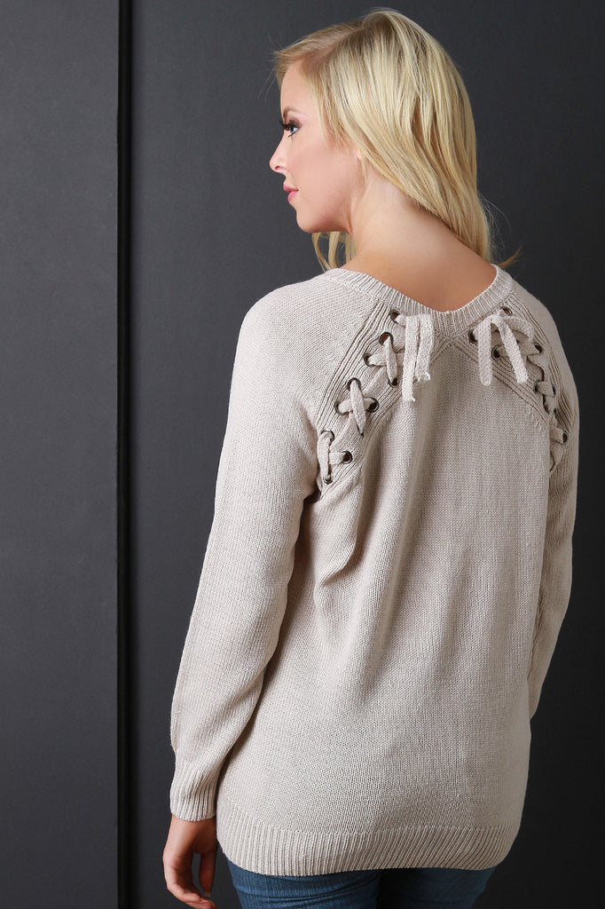 Lace Up Shoulder Blade Knit Sweater