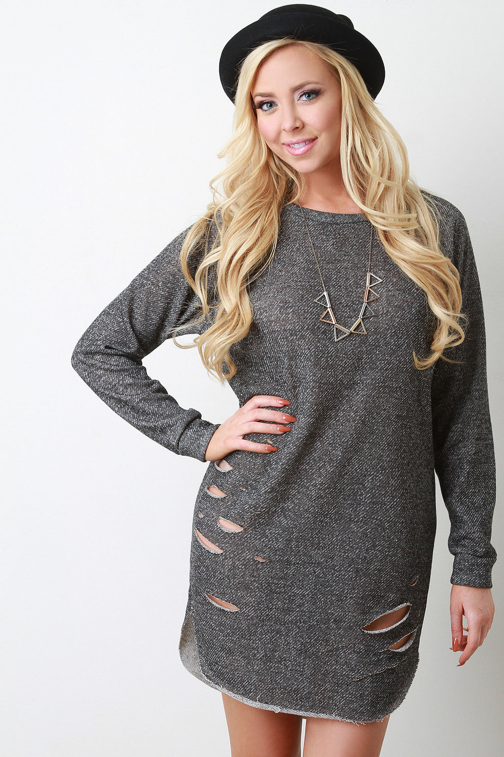 Distressed Melange Knit Sweater Dress