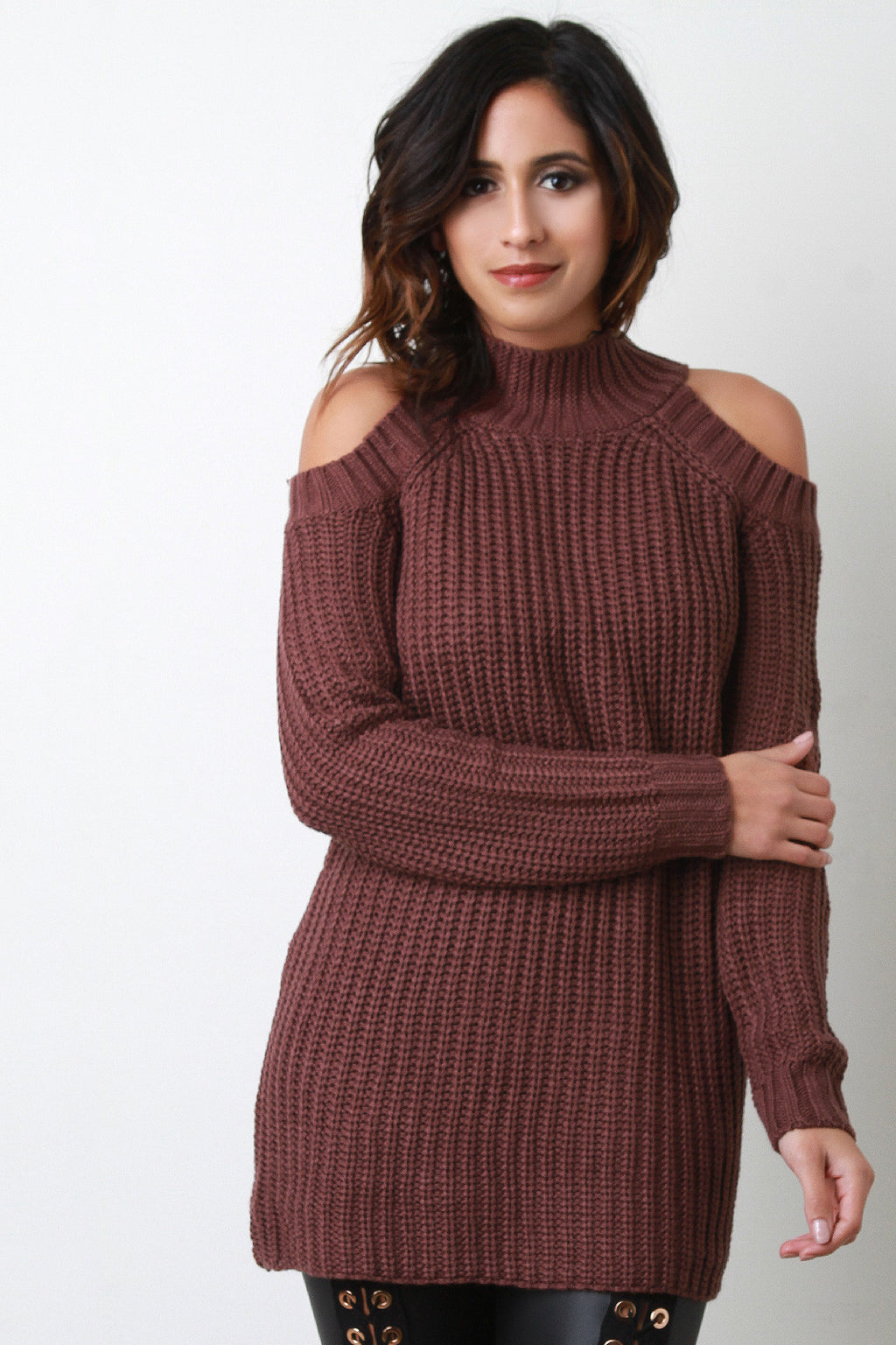 Cold Shoulder Knitted Sweater Top
