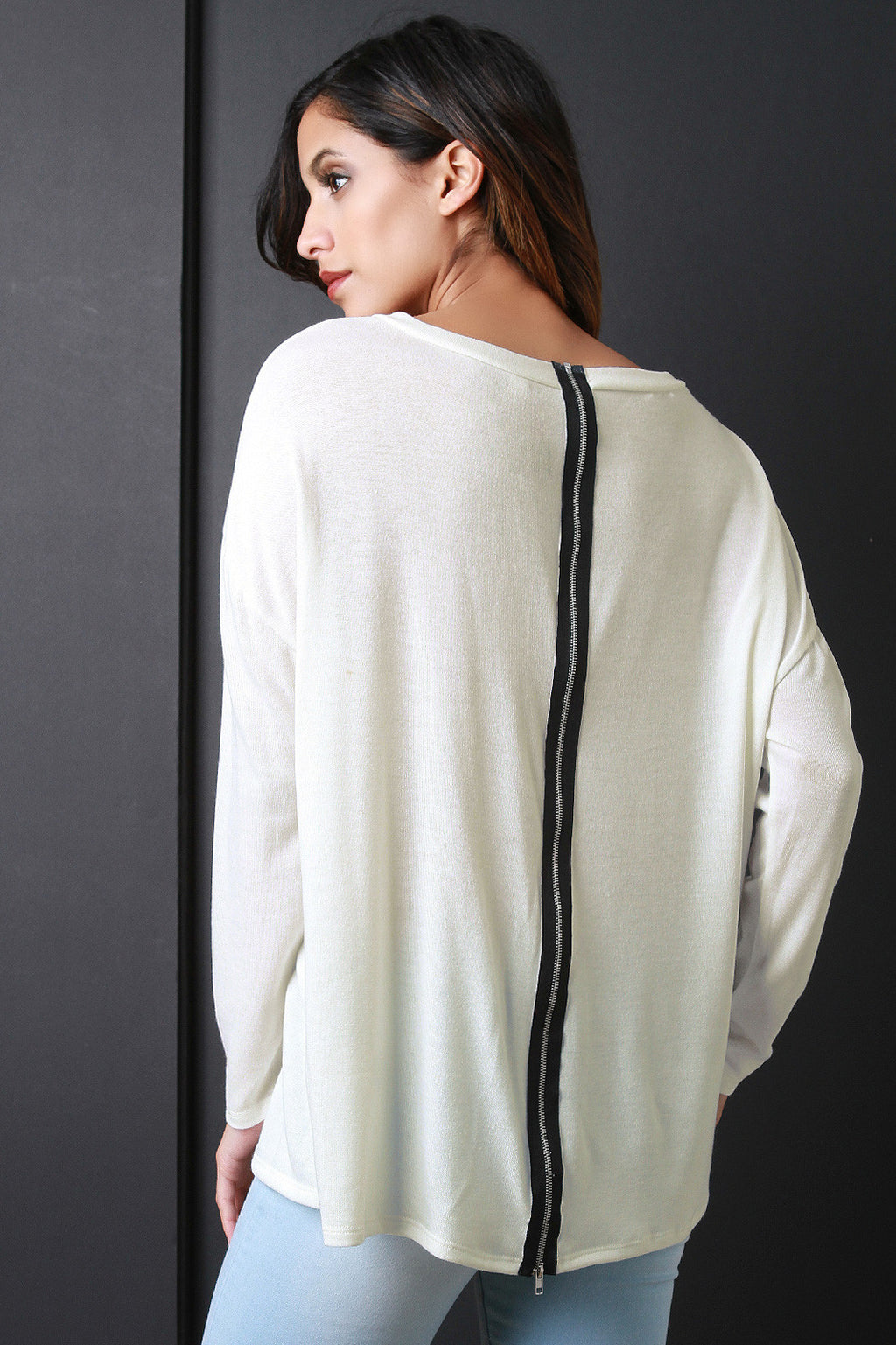 Zip Back Long Sleeves Sweater Top