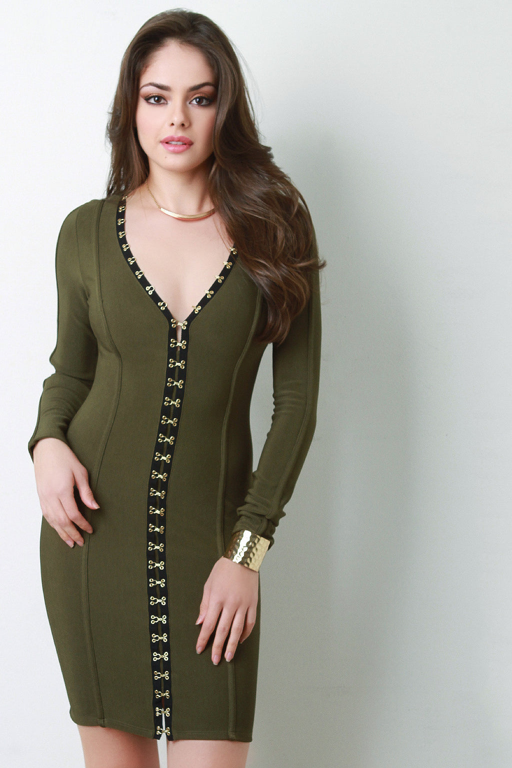 Structured Hook and Eye Bodycon Dress