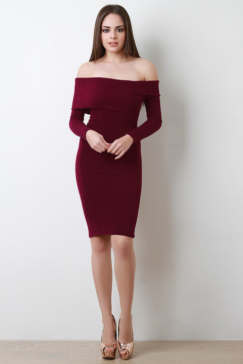 Thick Knit Off The Shoulder Midi Dress