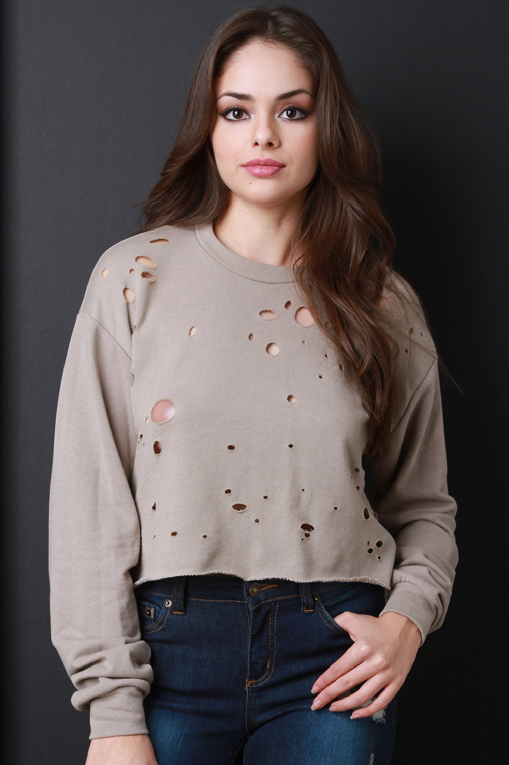 Distressed Long Sleeve Crop Sweater Top