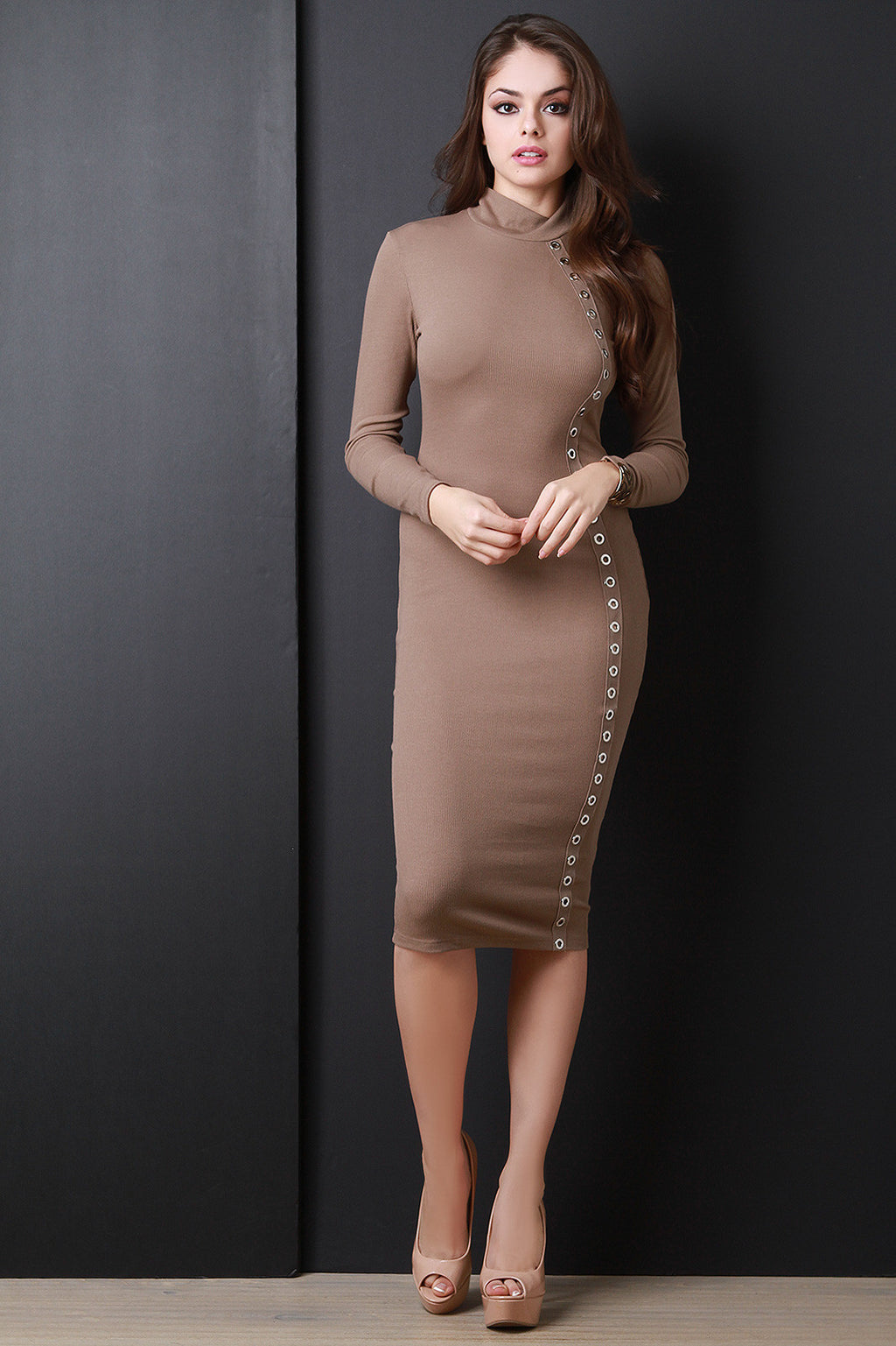 Bodycon Eyelet Long Sleeve Midi Dress