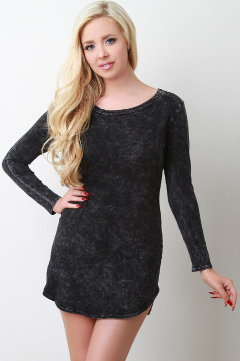 Acid Wash Long Sleeve Mini Dress