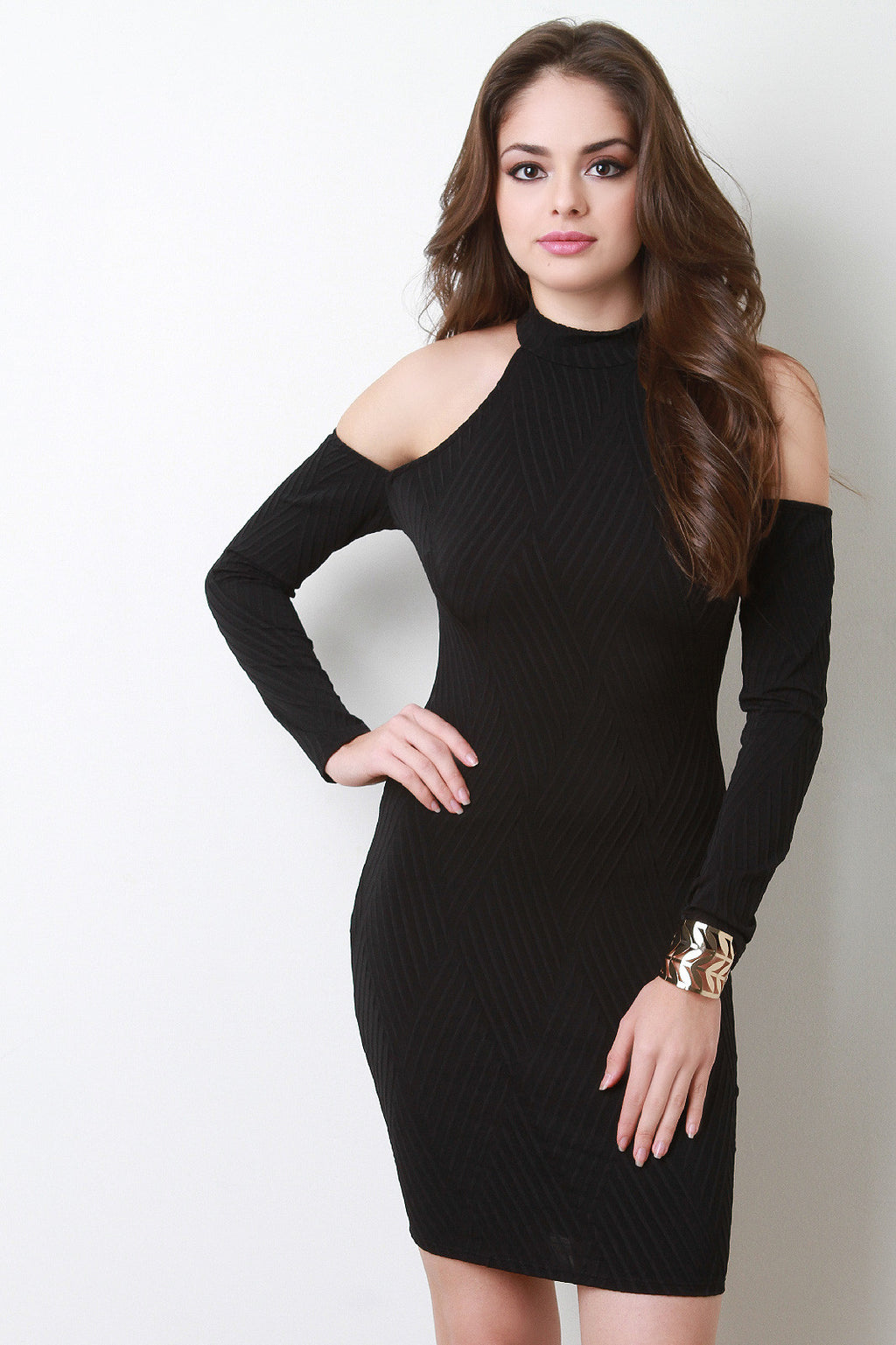 Cold Shoulders Basket Weave Textured Dress