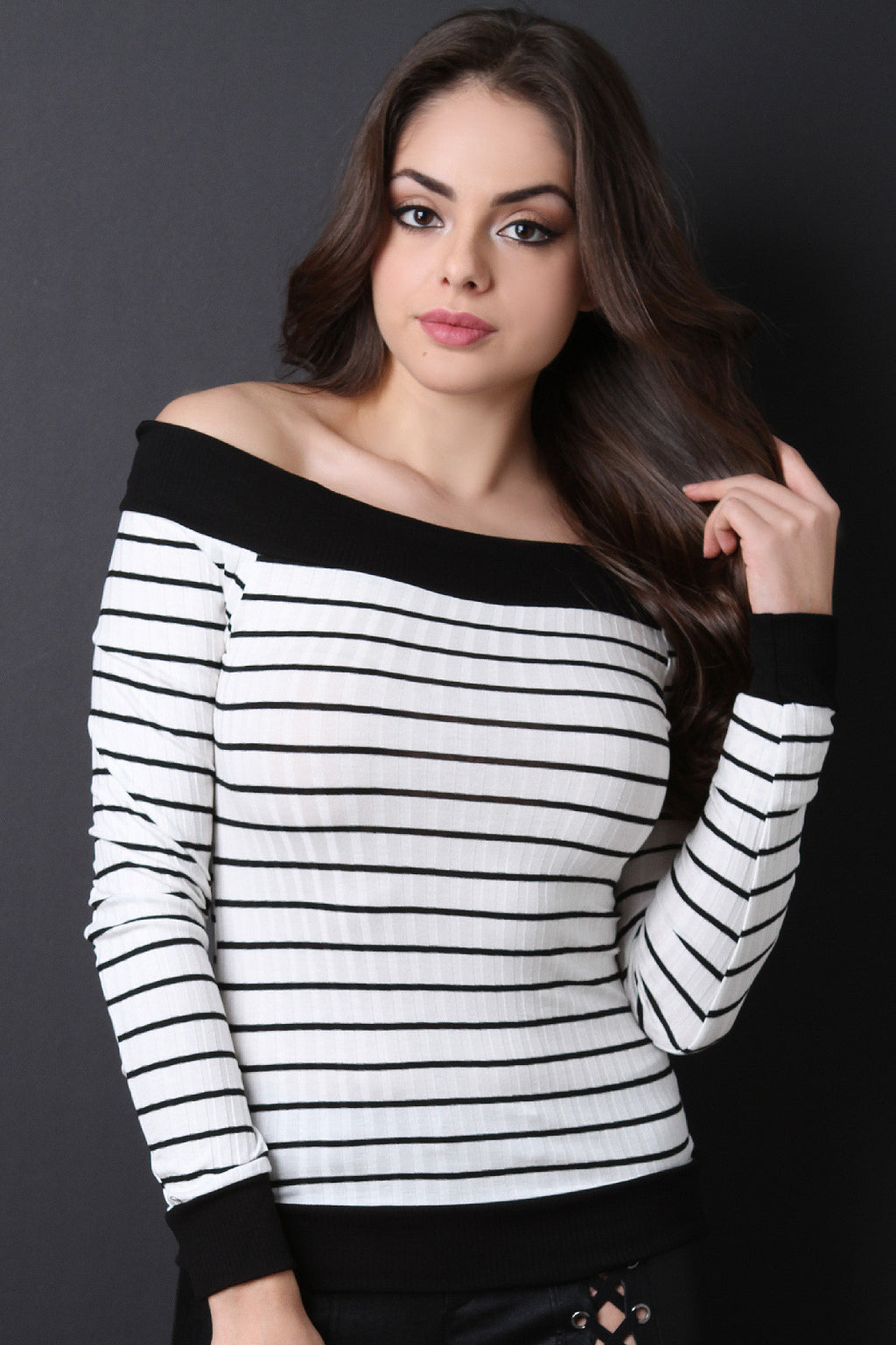 Long Sleeve Off The Shoulder Striped Top