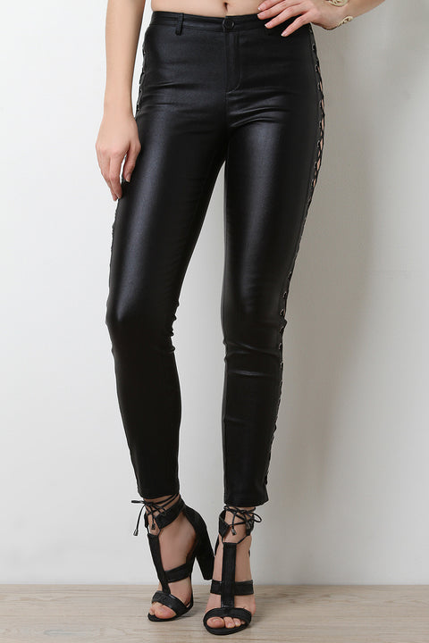 Stretchy Lace Up Eyelet Pants
