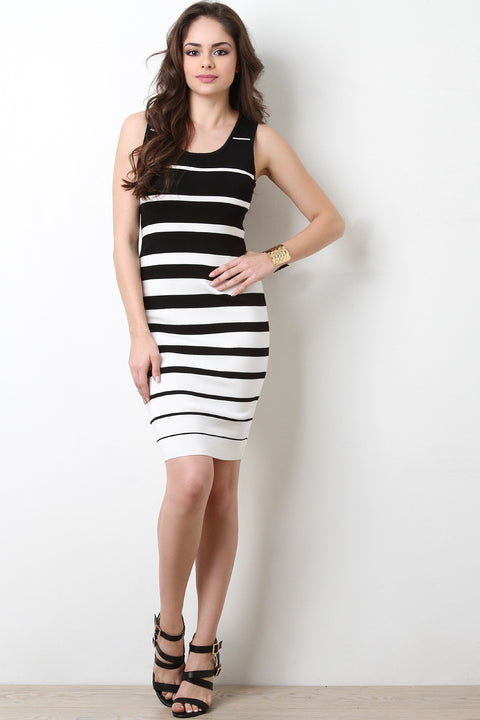 Black And White Stripes Bodycon Dress