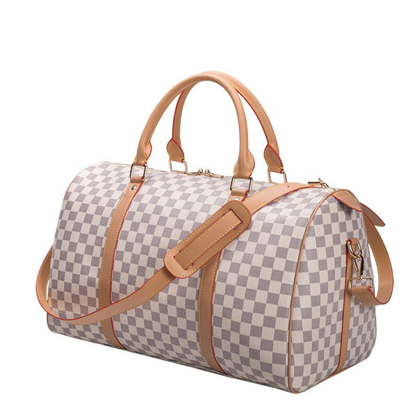 Bag Checkered Leather Travel/Gym Duffle Bag EOI