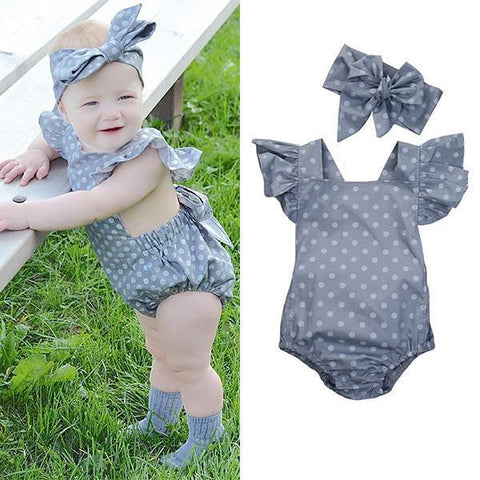 Polka Dot Butterfly Sleeve Romper with Headband