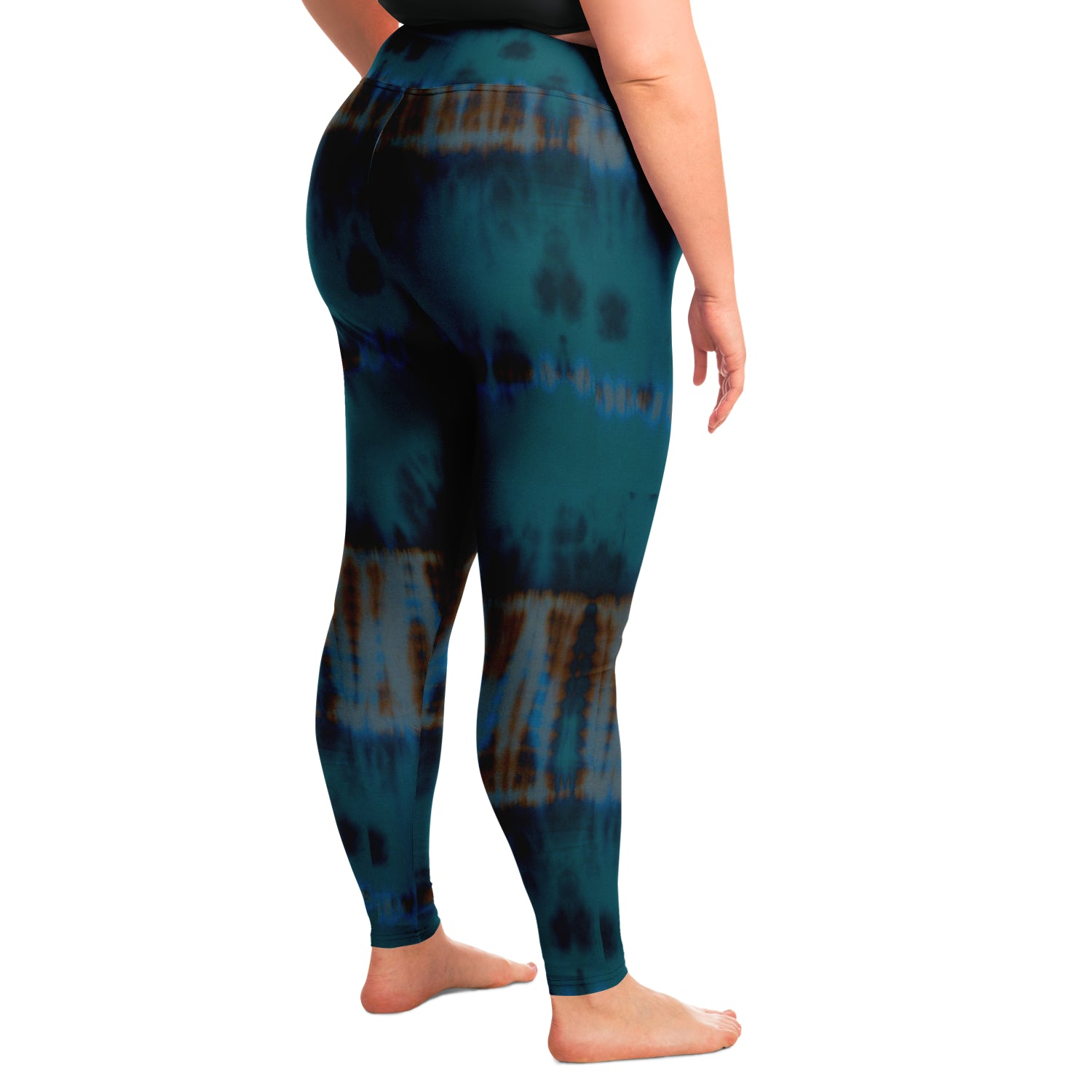 Teal Tie Dye Yoga Leggings Plus Size