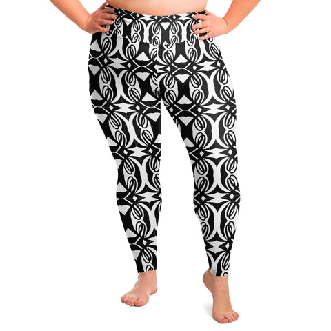 Double L Black & White Legging Plus Size