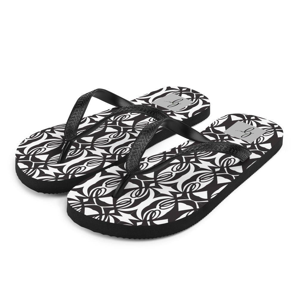 Double L Black & White Flip-Flops