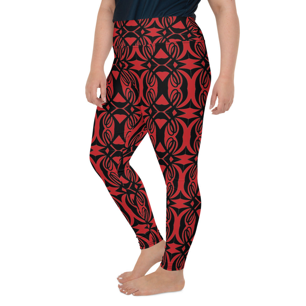 Double L Black & Red All-Over Print Plus Size Leggings