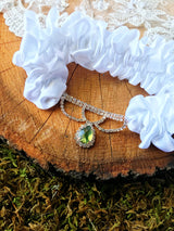 The GINGER Green Wedding Garter Set-Greenery Bridal Accessory