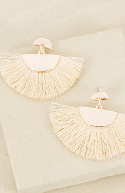 Joie de Vivre Fringe Earrings in rose gold/cream