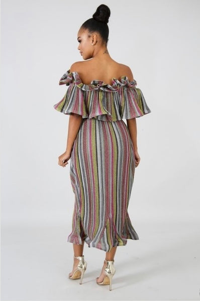 Alexa Off The Shoulder Flouncy Midi Dress