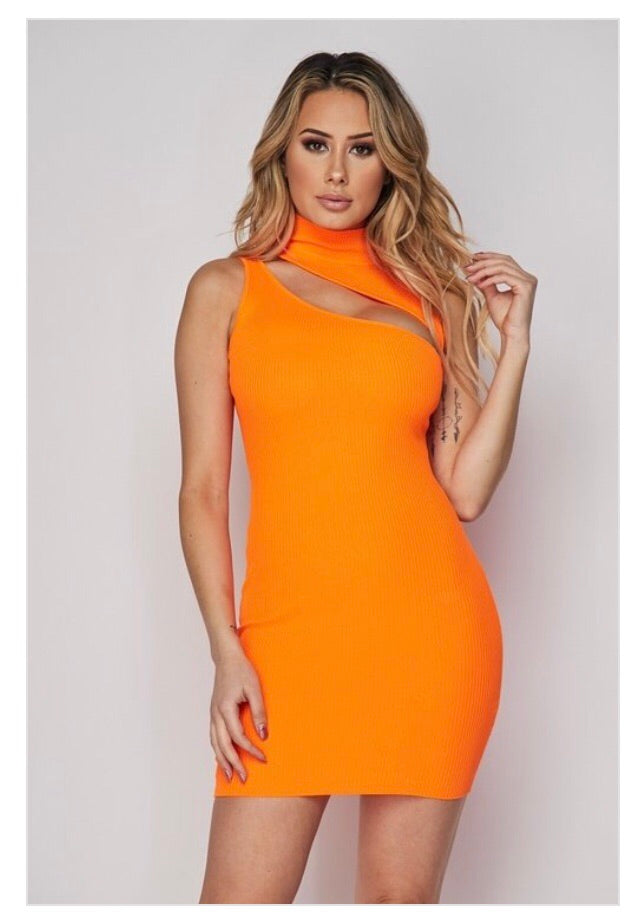 Neon Orange Mini Dress