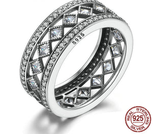 925 Sterling Silver Square Vintage Fascination, Clear CZ Big Ring For Women Luxury Fashion Jewelry S925 PA7601