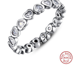 Authentic 100% 925 Sterling Silver Heart Stackable Ring