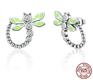925 Sterling Silver Vivid Green Dragonfly Earrings