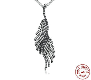 925 Sterling Silver Majestic Feathers Pendant Necklace