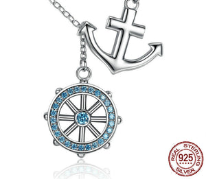925 Sterling Silver Blue Anchor & Rudder Pendant & Necklace