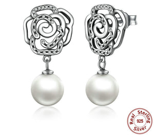 Authentic 925 Sterling Silver Rose and Pearl Earrings