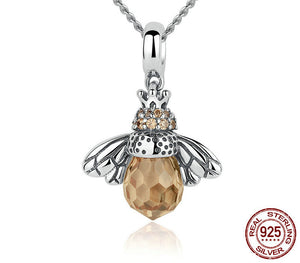 925 Sterling Silver Orange Bee Pendant Necklace