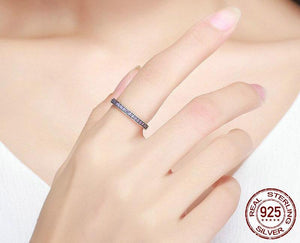 Genuine 925 Sterling Silver Stackable Ring Purple Clear CZ