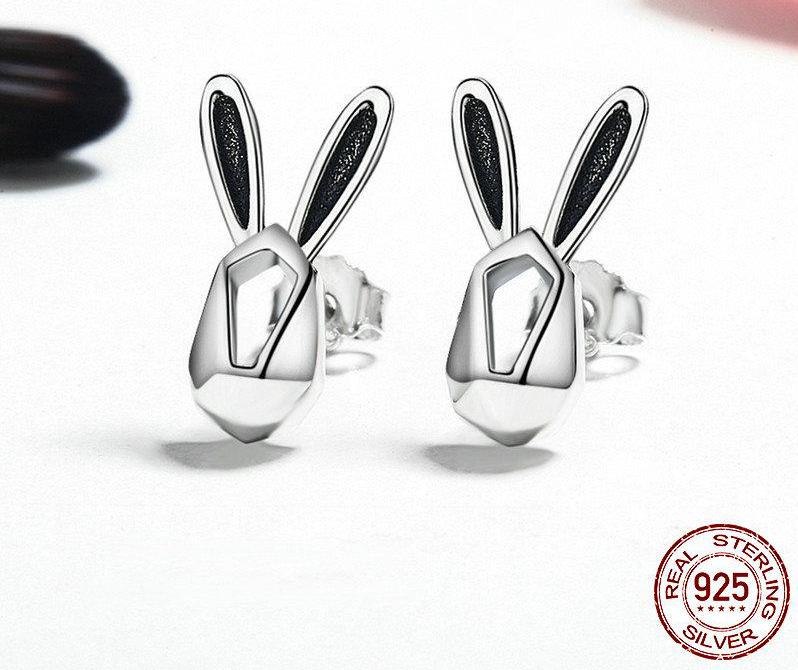 Authentic 100% 925 Sterling Silver Cute Rabbit Animal Stud