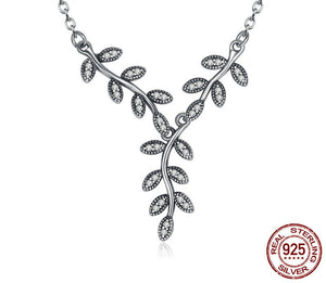 925 Sterling Silver Sparkling Leaves Long Pendant Necklace