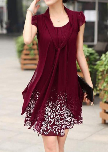 Tie Neck Chiffon Dress