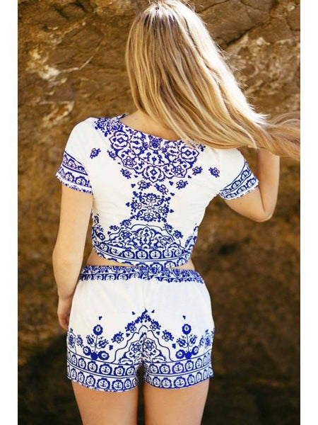 Greek Print Crop Set